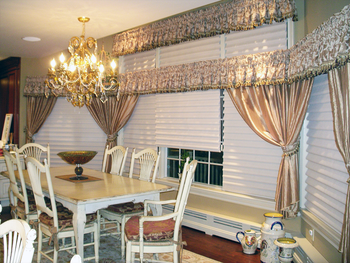 Double Height Windows w/ Shirred Valances, Drapery w/ Tiebacks & Pirouette Shades