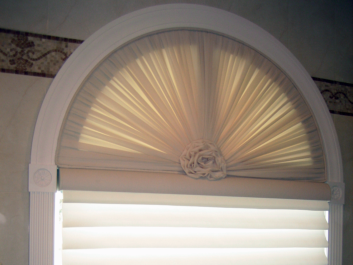 Custom Arched Window w/ Sheer Rosette, Pirouette Shades