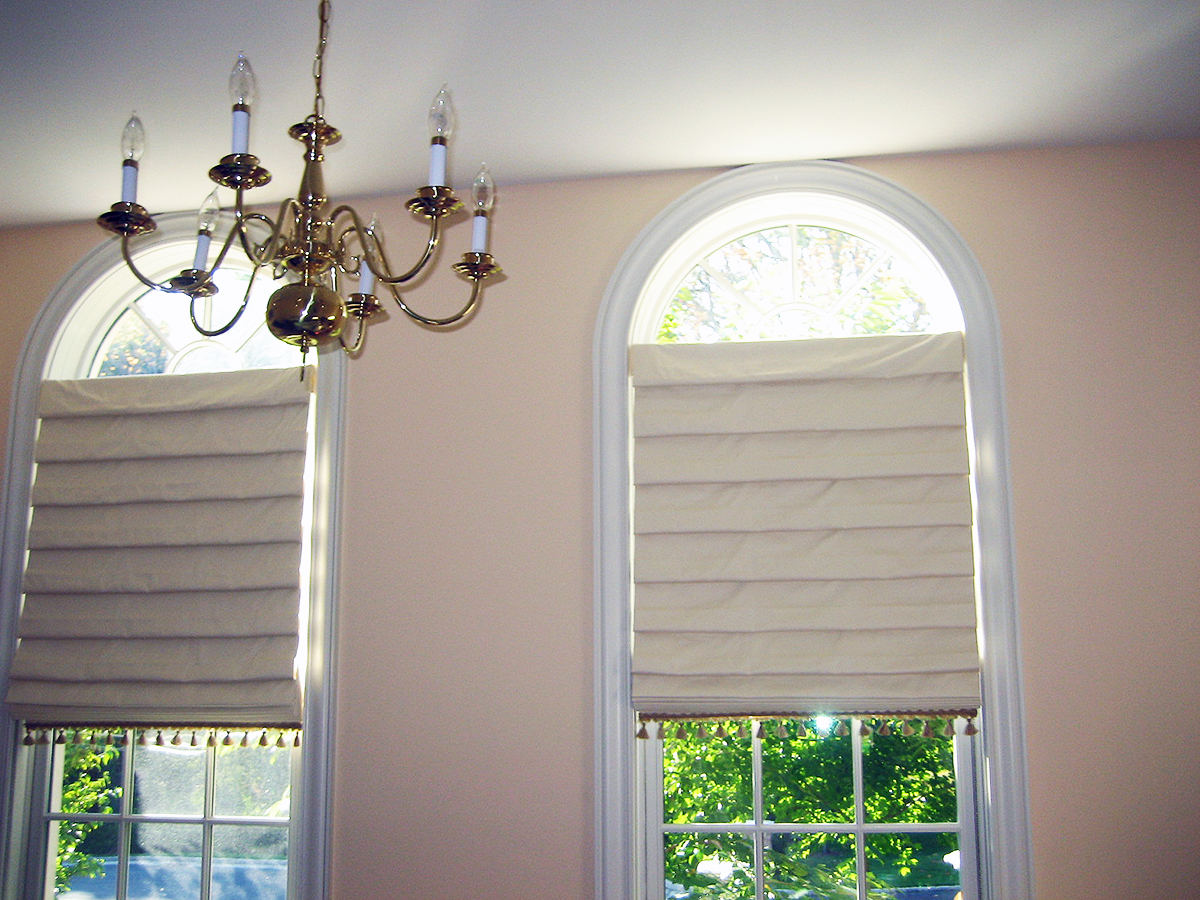 Custom Roman Shades for Arched Windows