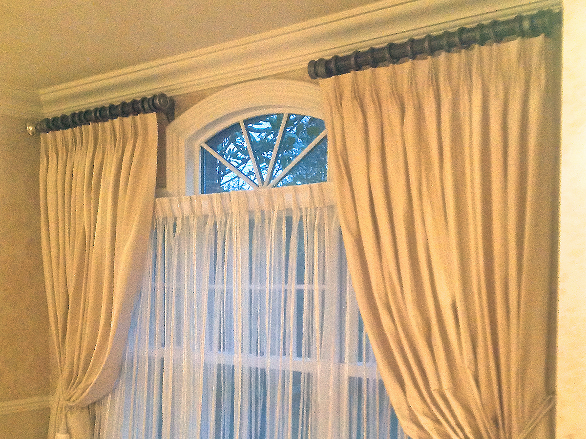 Compound Arched Window w/ Sheer Drapery & Pleated Ring Top Side Panels on Decorative Poles