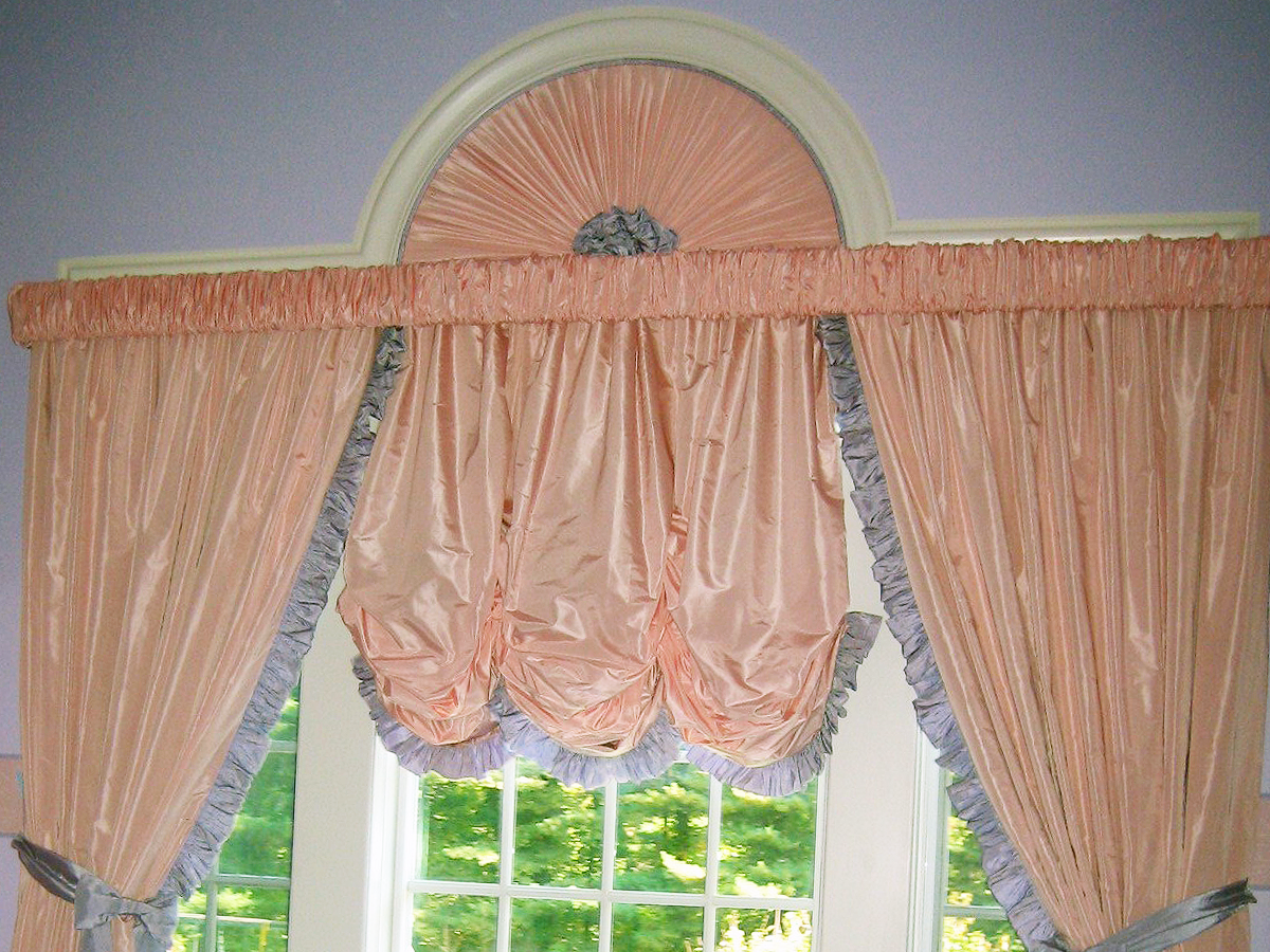 Custom Arched Window w/ Shirred Valance, Custom Rosette, Balloon Valance & Matching Trimmed Drapery w/ Tiebacks
