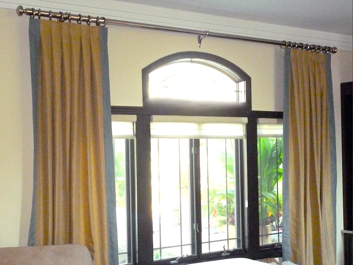Custom Arch Window w/ Full Height Banded Drapery on Rings w/ Decorative Rod