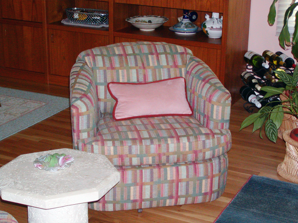 Barrel Style Chair Re-Upholstered w/ Complimentary Lumbar Pillow