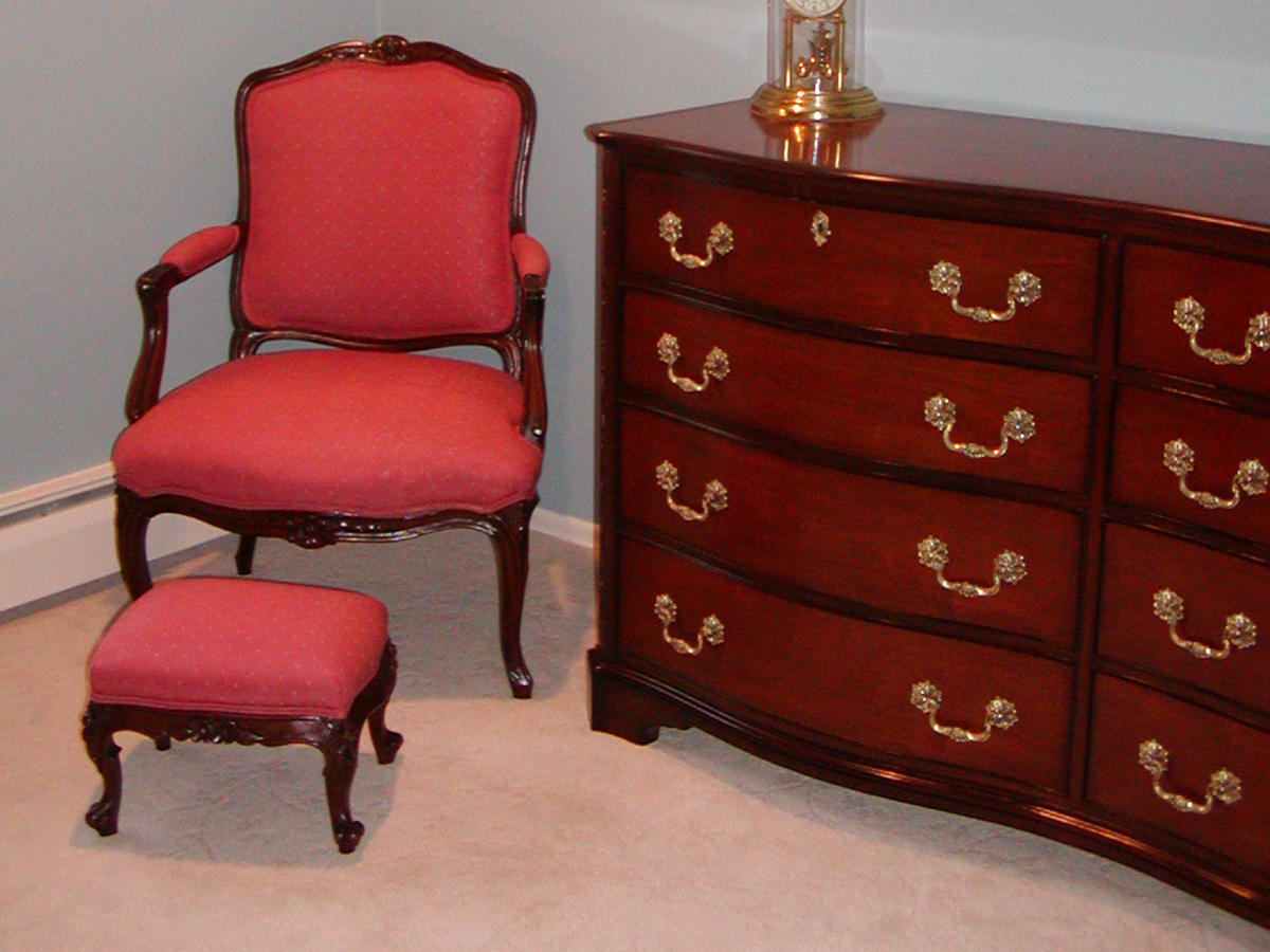 Upholstered Chair & Ottoman