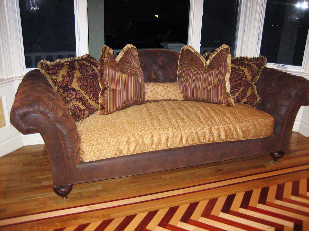 Re-Upholstered Sofa & Pillows