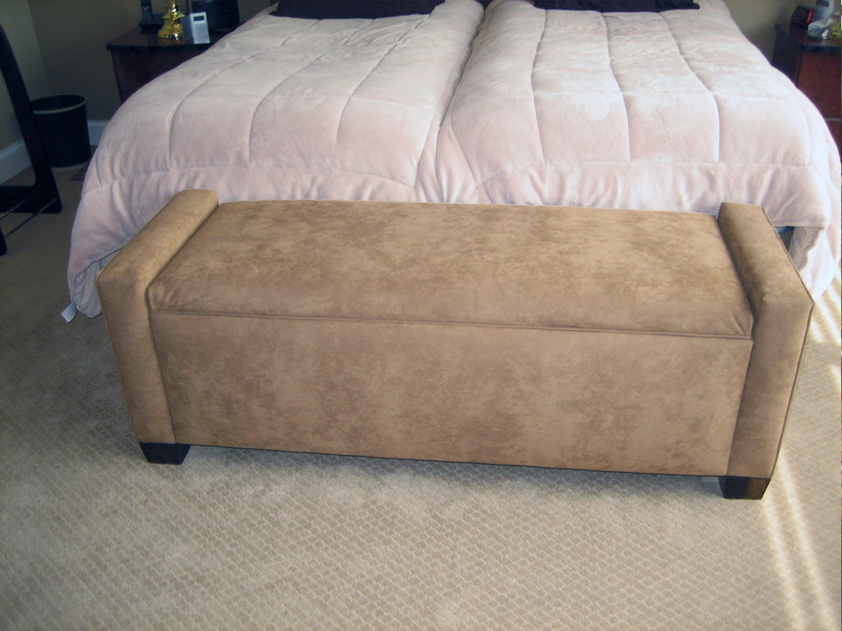 Custom Storage Bench in Ultra Suede